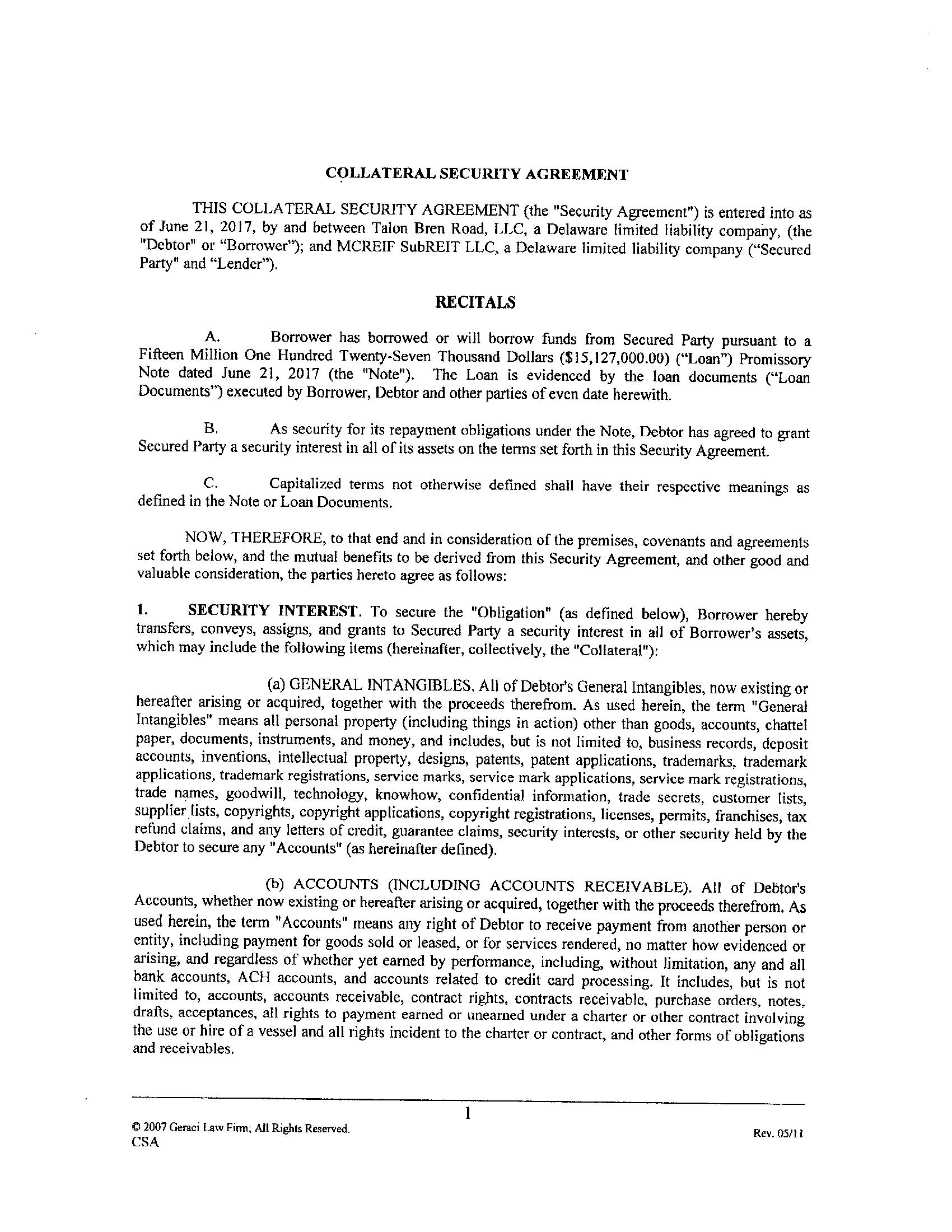 TALON REAL ESTATE HOLDING CORP – Security Agreement